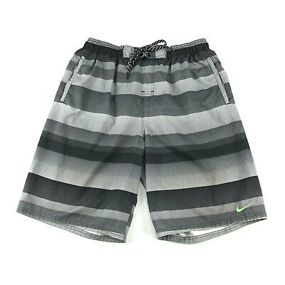 875f6e8dab Nike Mens Gray Striped Mesh Lined Drawstring Waist Swim Trunks Board Shorts  XL