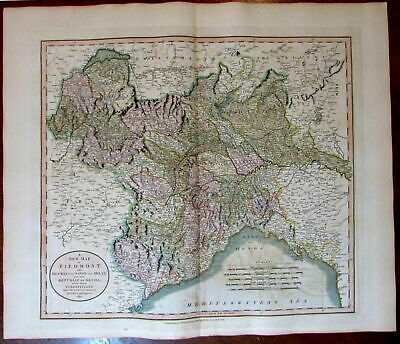 Piedmont Savoy Milan Genoa Northern Italy 1811 John Cary lovely large old map