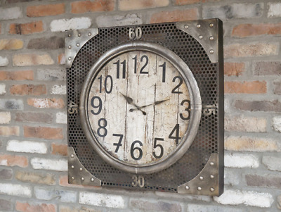 Large Retro Industrial Clock Square  Factory Metal Distressed Vintage Steampunk
