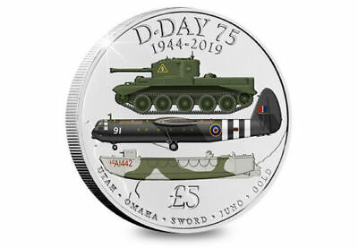 £ 5 D-DAY 75th ANNIVERSARY, 1944 - 2019, Five Pound Coloured Coin BUNC