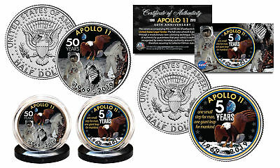 APOLLO 11 50th Anniversary Man on Moon U.S. JFK Kennedy Half Dollar 2-Coin Set