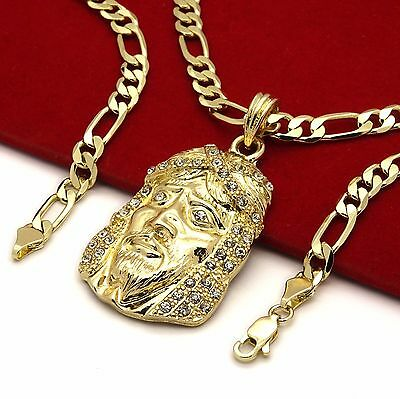 "Men's 14k Gold Plated High Fashion Jesus Pendant 5mm 24"" Inch Figaro chain"