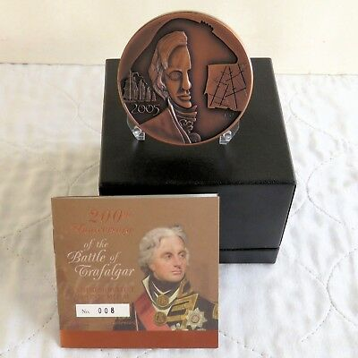 2005 BATTLE OF TRAFALGAR 63mm TONED BRONZE ROYAL MINT MEDAL - complete - coa 008