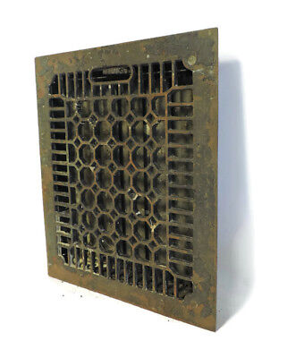 ANTIQUE CAST IRON HEATING GRATE VENT REGISTER HONEYCOMB DESIGN 13.75 X 11.75 b