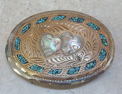 Nice Silver Brass Wil-Aren Heart Abalone Turquoise Oval Western Handmade Buckle