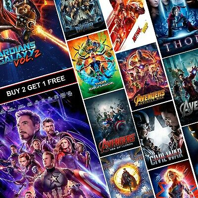 Marvel MCU Movie Posters A4 A3 HD Prints Art Free Iron Man Avengers Spiderman
