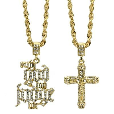 "Mens 14k Gold Plated High Fashion Cross 012 & OGCGM Pendant 24"" & 30"" Rope chain"