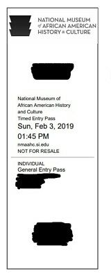 Sunday, Feb 3rd - 4 Tickets - National Museum of African American History