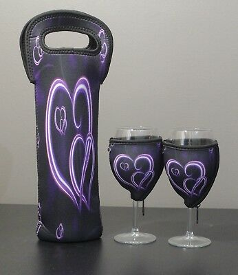 Purple Heart bottle carrier and wine glass coolers x 2