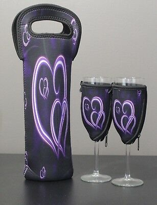 Purple Heart bottle carrier and champagne glass coolers x 2