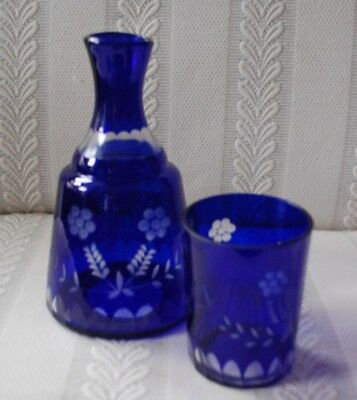 Cut to Clear Bohemian Czech Cobalt Blue Bedside Carafe With Glass MINT