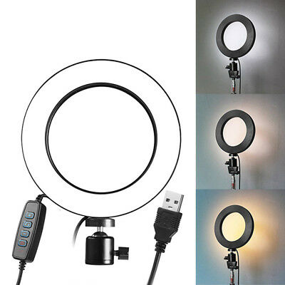 LED Ring Light Dimmable USB 5500K Fill Lamp Photography Phone Video LiveJC