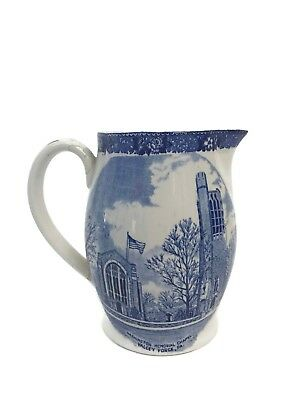 Vintage Adams Valley Forge Old English Staffordshire Blue Transferware Pitcher
