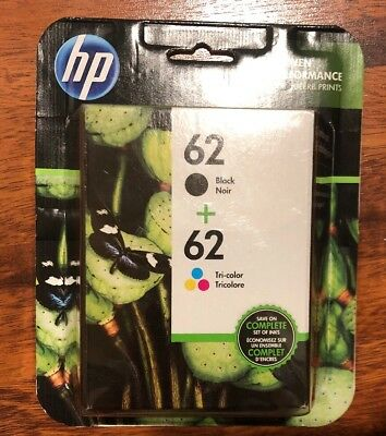 HP 62 Genuine Black & Color ink HP62 Combo Ink Cartridges New Sealed 10/2019