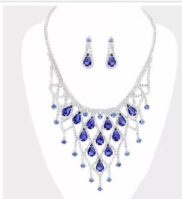 6cd387e166c38 ROYAL BLUE AB Rhinestone Crystal Formal Pageant Necklace Jewelry Set ...