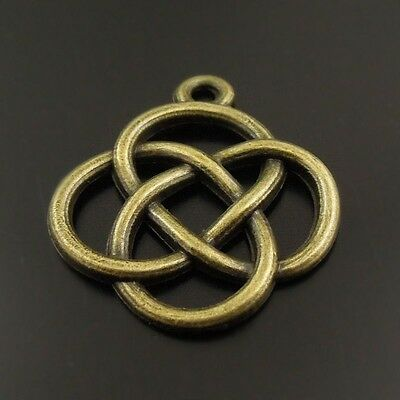 10pcs Antique Bronze Alloy Chinese Lucky Knot Celtic Knot Charms Pendants Making