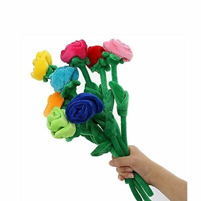 Colorful Rose With Bendable Stems Bright Color Velvet Flower Soft Plush Toy Gift