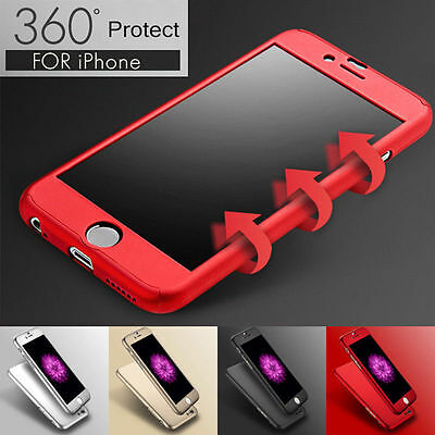 iPhone 7 6s Plus XS Max XR 360 Full Shockproof Hard Case Cover + Tempered Glass