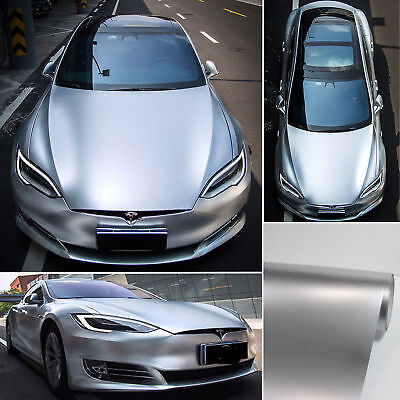 Newest Car Pearl Metal Satin Matte Chrome Vinyl Wrap Sticker Decal Silver - AB