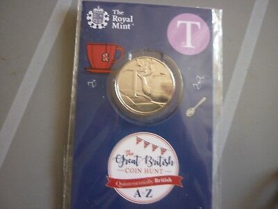 RM GREAT BRITISH COIN HUNT 10p (TEN PENCE)  LETTER  T 'a CUP OF TEA'