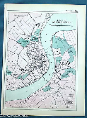 LONDONDERRY - Original Antique Map -  G.W.BACON  -  1897.