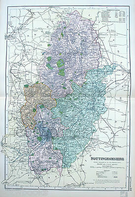 NOTTINGHAMSHIRE  -  Original Large Antique County Map -  BACON , 1897.