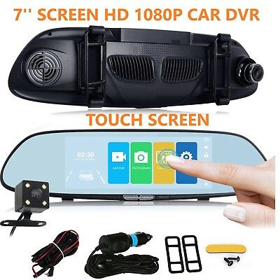 Car Camera Video Recorder Dual Lens DVR Dash Cam 1080P Rearview Mirror Black HD