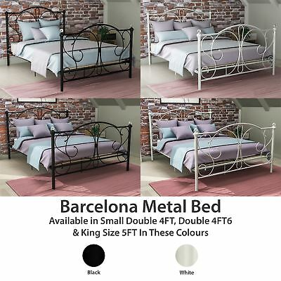 Metal Bed Double King Size Frame 4FT 4FT6 5FT Mattress Black White Barcelona