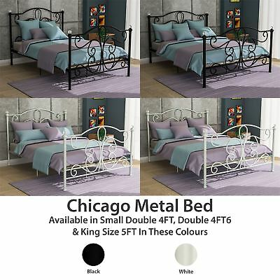 Metal Bed Double King Size Frame 4FT 4FT6 5FT Mattress Black White Chicago
