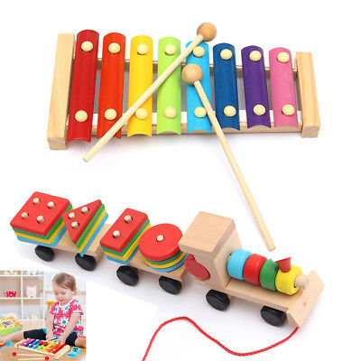 Kids Baby Toys Musical 8 Note Xylophone Piano Multicolor Wooden Instrument