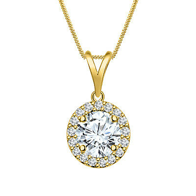 Round Diamond Halo Pendant Necklace 14K Yellow Gold Over 925 Sterling Silver