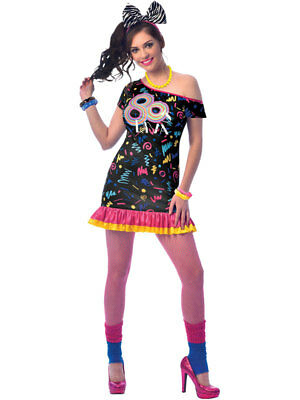 Ladies 80s Girl Costume Adults Retro 1980s Fancy Dress Womens Disco Diva Outfit