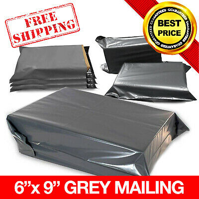 "100 x GREY STRONG MAILING MIXED PLASTIC POSTAL MAIL BAGS 6"" x 9"""