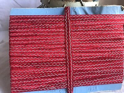 Red Silk Satin Ribbon, French Woven Tape / Vintage Haberdashery 4m Old New Stock