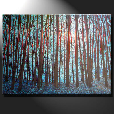 Original Extra Large Contemporary Painting Canvas Night Forest Moon GeeBeeArt