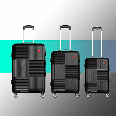 """Luggage Sets Trolley ABS Spinner Hard Shell Suitcase 20"""" 24"""" 28""""  + Lock Black"""