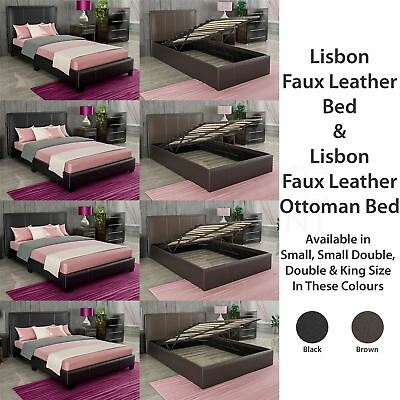 Bed Faux Leather Small Double King Size Ottoman 3FT 4Ft 5Ft Mattress Black Brown