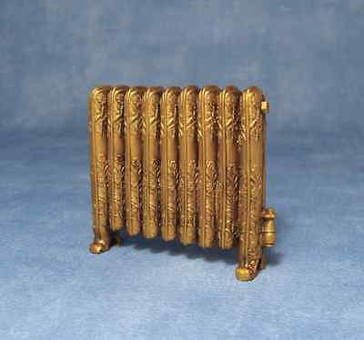 Column Radiator Antique Gold, Dolls House Miniature, 1.12th Scale