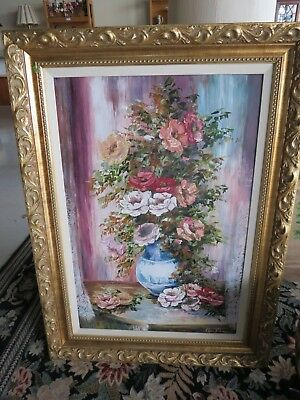 Alexa Keleman Oil Painting Signed Framed Art Lard Floral Picture 33 x 45