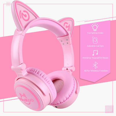Wireless Bluetooth Headset Cat Ear LED Foldable Headphones Earphone For iPhone X