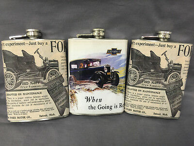 Set of 3 Mix Vintage Car Ads Flask 8oz Stainless Steel Hip Drinking Whiskey