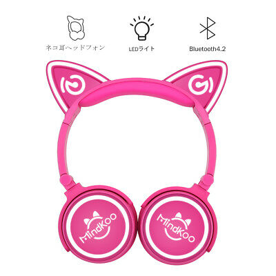 Wireless Bluetooth Cat Ear Headband LED Lights Headphones Earphone Headset Phone