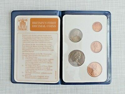 Britain's First Decimal Coins - Set of 5 uncirculated coins in wallet