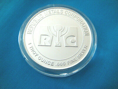 Republic Metals Corp-RMC- 1 Troy oz SILVER ROUND.999 FINE-SILVER -Ag-NEW