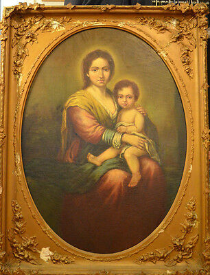 Antique Italian 19th Century Madonna and Child Oil Painting Framed Extra Large