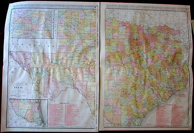 Texas state by itself two sheet folio map 1913 huge detailed Rand McNally