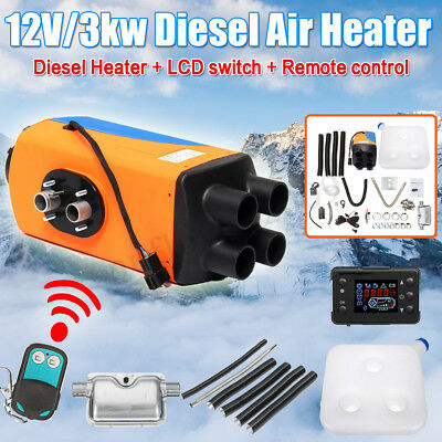 3KW 12V Diesel Air Heater 10L Tank LCD Switch Remote For Trucks Boat Car