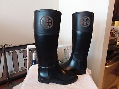e8b4c68eb26 Tory Burch Women s Diana Tall Rain Boots Riding Boot Black Size 6 Nice!