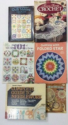 Vtg Lot/6 Needlework Books 1950s To 1990s Quilt Embroidery Crochet Doilies  H132