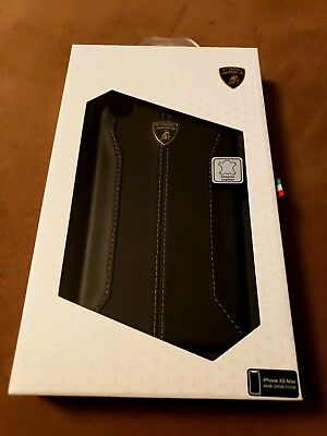 Lamborghini Huracan-D1 Leather Back Cover Case for iPhone Xs Max (Black)